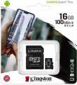 microSDHC 16GB Kingston Canvas Select + w/a (EU Blister)